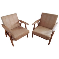 2 Vintage Cigar Chairs GE240 Oak and Fabric by Hans J. Wegner for GETAMA Denmark