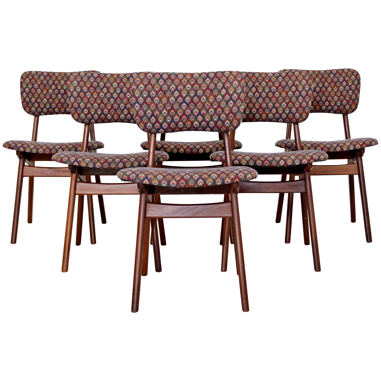 7a59218e15be Mid-Century Modern Arne Hovmand Olsen Danish Teak Set 6 Side Dining Chairs  at 1stdibs