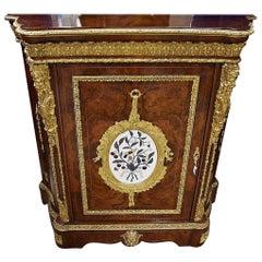 19th Century French Bur Walnut Pier Cabinet