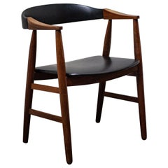 Danish Midcentury Teak Desk Chair with Black Faux Leather Seat