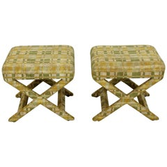 Mid-Century Modern Pair of Billy Baldwin X-Base Benches Stools Ottomans, 1960s