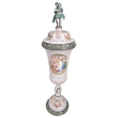 Tall and Beautiful Antique Viennese Enamel and Silver Covered Cup