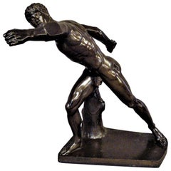 19th Century Grand Tour Classical Bronze Sculpture of Borghese Gladiator