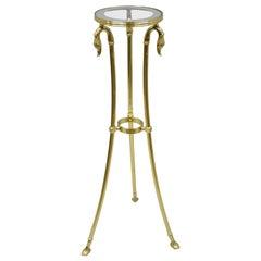 Italian Regency Neoclassical Style Brass Pedestal Plant Stand Table w Swan Heads
