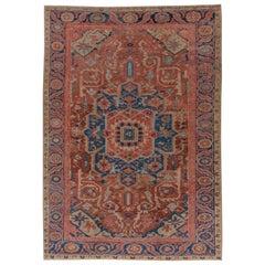 Antique Heriz Carpet, Soft Palette, circa 1910s