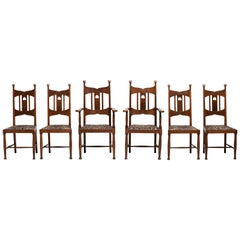 Set of 6 Arts & Crafts Oak Dining Chairs, England, circa 1900