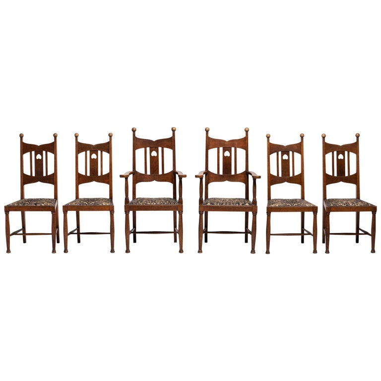 Set of 6 Arts & Crafts Oak Dining Chairs, England, circa 1900 For Sale
