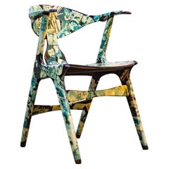 Louis Van Teeffelen Cowhorn Decoupage Chair
