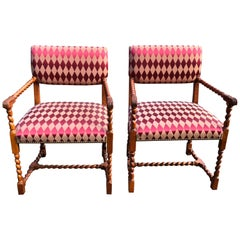Stunning Pair of Jacobean Style Armchairs by Baker