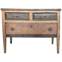 18th Century Portuguese Walnut and Chestnut Three-Drawer Rustic Chest