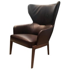 Chelsea High Back Armchair by Molteni&C Leather Brown