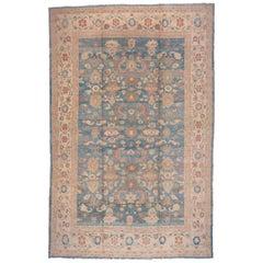 Sultanabad Carpet, Blue Field, Handmade Wool Carpet