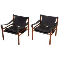 "Pair of ""Sirocco"" Safari Chairs in Black Leather by Arne Norell"