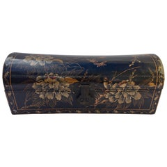Large Chinoiserie Leather in Black and Gilt Hand Painted Domed Box