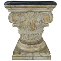 Leather and Wood Carved Capital Stool