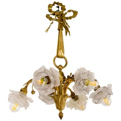 French Louis XVI Style Gilt Bronze Six-Light Chandelier