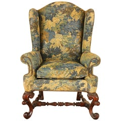 Carved Mahogany Baroque Wing Chair, circa 1890