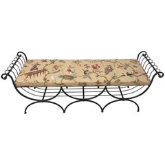 Italian Neoclassical Bench with Custom Scalamandre Cushion