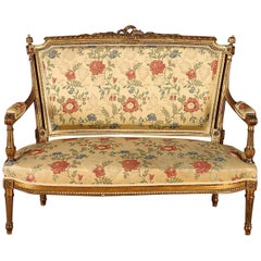 Set of 5, French Giltwood Louis XVI Style Settee and 4 Armchairs