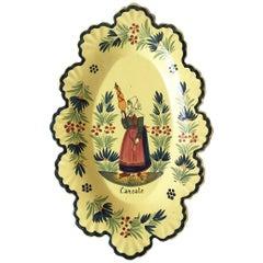 French Yellow Quimper Platter Henriot Quimper, circa 1920