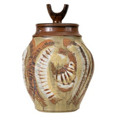 California Modern Large Studio Pottery Jar with Lid by Don Jennings