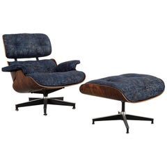 Early Production Eames Rosewood Lounge Chair and Ottoman