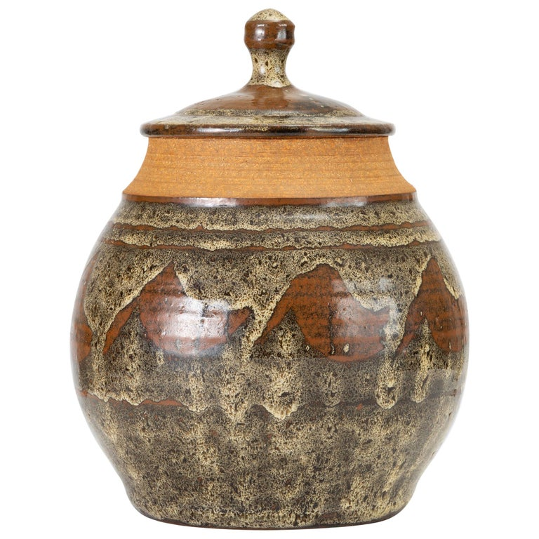 California Modern Studio Pottery Jar with Abstract Pattern by Don Jennings For Sale