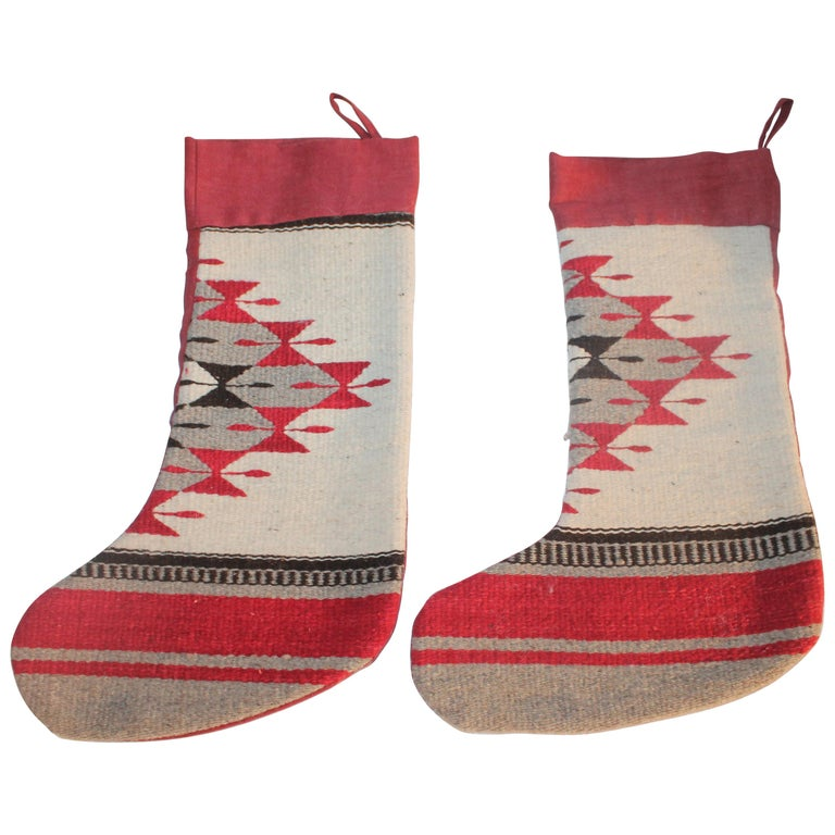 Indian Weaving Xmas Stockings or Pair For Sale
