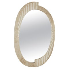 "Oval Postmodern ""Park Avenue"" Striped Tessellated Stone Mirror, 1990s"