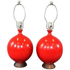 Vintage 1960s Red Glaze Ceramic Table lamps