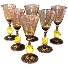 Six Exquisite Amethyst and Gold Infused Murano Swan Water Goblets by Salviati