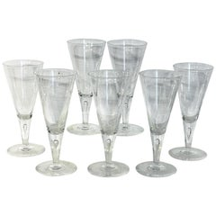 Seven Tall Midcentury Steuben Teardrop Water or Wine Glasses #7924