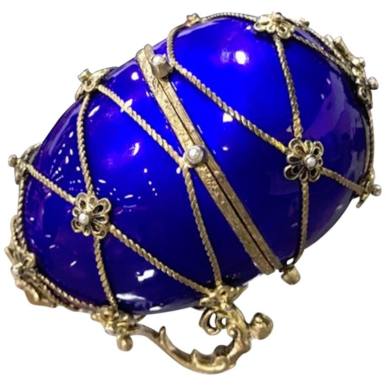 Sterling and Cobalt Blue Enamel Egg Music Box, in the Style of Fabergé For Sale