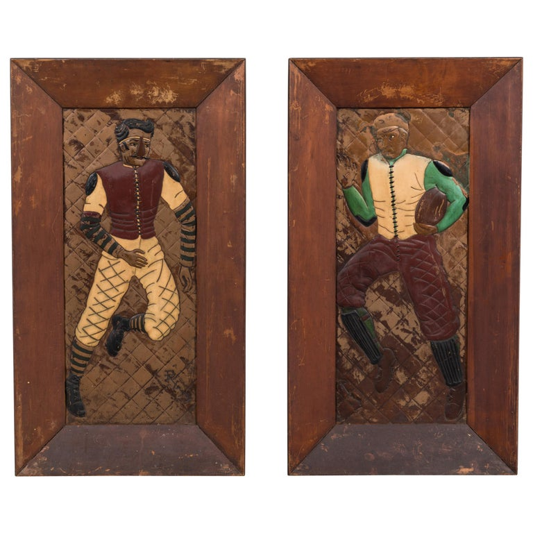 Pair of Copper Relief Football Player Wall Hangings Period Football Uniforms For Sale