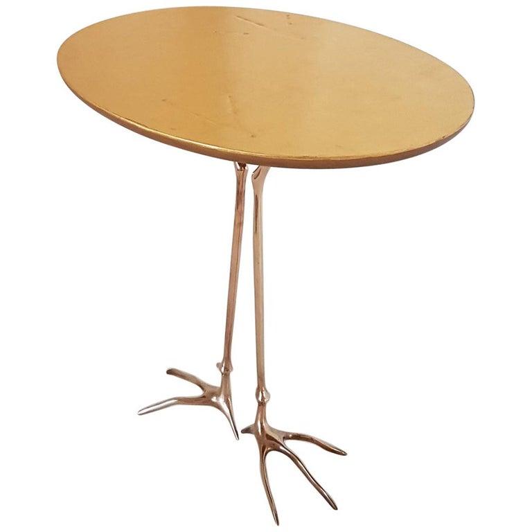 M. Oppenheim Traccia Gold Leaf Italian Simon Gavina Coffee Table with Bronze Leg For Sale