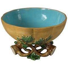 Mintons Majolica Oak and Basketweave Salad Bowl