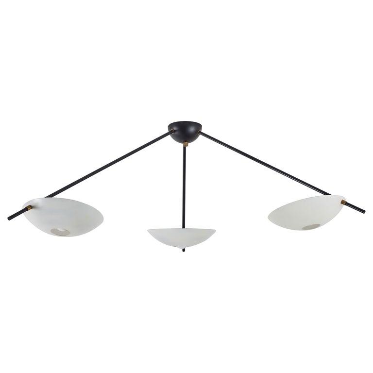 Three-Arm Italian Flush Mount Ceiling Light For Sale
