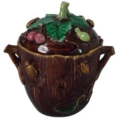George Jones Majolica Insect Pot and Cover