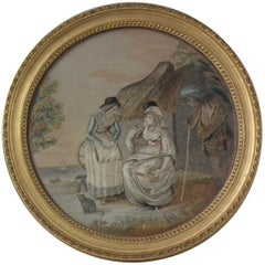 Antique Georgian Silkwork Embroidery of a Country Scene