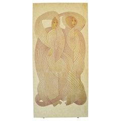 Veiled Virgins Room Divider or Wall Covering Marked by Jack Denst, 1976, USA