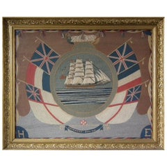 Sailor's Woolwork Picture of a Ship, 'Homeward bound'