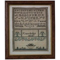 Antique Sampler, 1834 by Ann Kelk