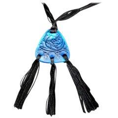 René Lalique Electric Blue Glass 'Graines' Pendant