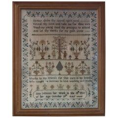 1845 Sampler by Ann Johnson