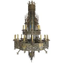 19th Century Huge Gothic Iron Chandelier