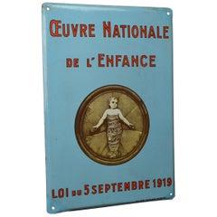 Vintage Enamel Advertising Sign, Oeuvre Nationale de L' Enfance