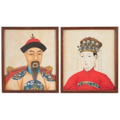 Pair of Portraits, Gouaches on Paper, Chinese Dignitary and His Husband