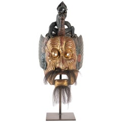 Gilded Wood Mask, Polychrome, Japan, Says of the Imperial Dance of Bugaku Dances