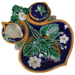 Wedgwood Majolica Strawberry Server, Sugar and Creamer