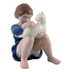 Rare Royal Copenhagen Figure, Girl with Cat, Decoration Number 4631